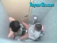Couple caught banging in the washroom on a security cam