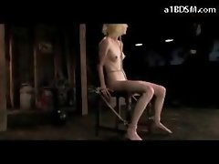 Thin Blondie Mouthgag Tied To Chair Muff And Nipples Tortured With Weights In The Dungeon