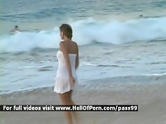 Perfect tempting blonde on the beach clip