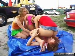 Barely legal teen Orgy Outside