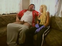 Attractive Tempting blonde screwing with a frikki lad