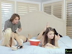 BrattySis - Tricked Horny Sis And Teen Friend Into Threeway
