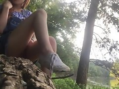 Petite redhead college teen public mastubation and orgasm by the river