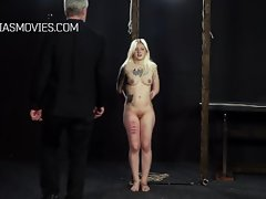 Thick thighs caned, little slave suffers