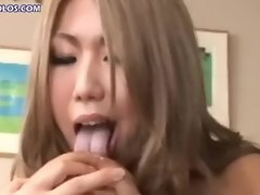 Japanese girl sucks her own nipples
