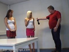 2 Girls spanked A