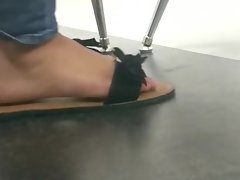 Candid latina feet in Spanish class pt.6