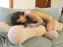 Cute 18yo Jenny first time sex with a plush toy teddy bear Carlos