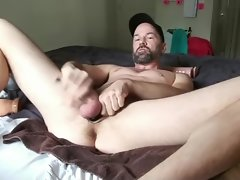 Dilf drains off with rubber toys up his dirty ass