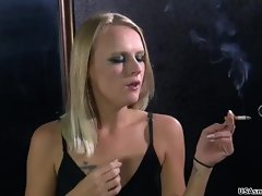 This luscious smoker babe has a stressfull model-job and a intense smokers cough