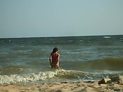 I'm nude on the beach-Oksana