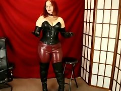Experienced in crimson leather pants, boots and gloves