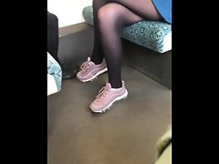 secret pantyhose haunting, so seductive in her black pantyhose and withe socks