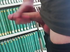 Jerking off in library with Extremely huge shaft (public)